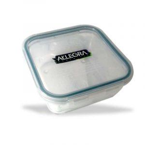 contenedor hermético de vidrio cuadrado